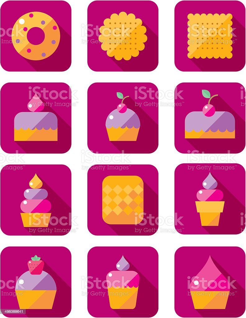 set of flat icons with sweet pastries royalty-free stock vector art