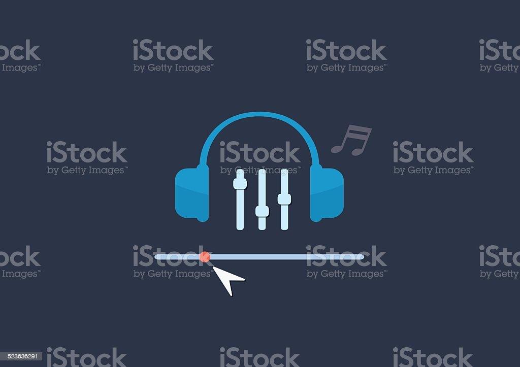 Set of flat illustration design music concept vector art illustration