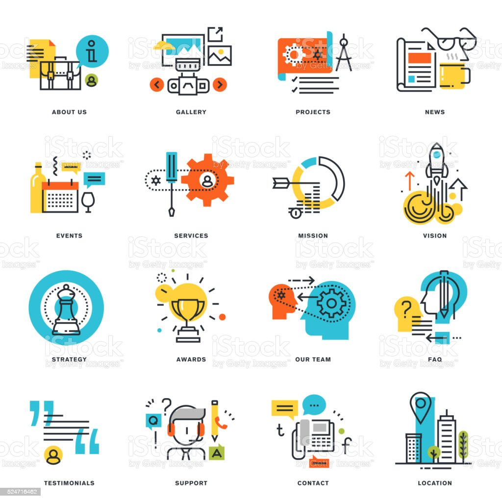 Set of flat line design business icons vector art illustration