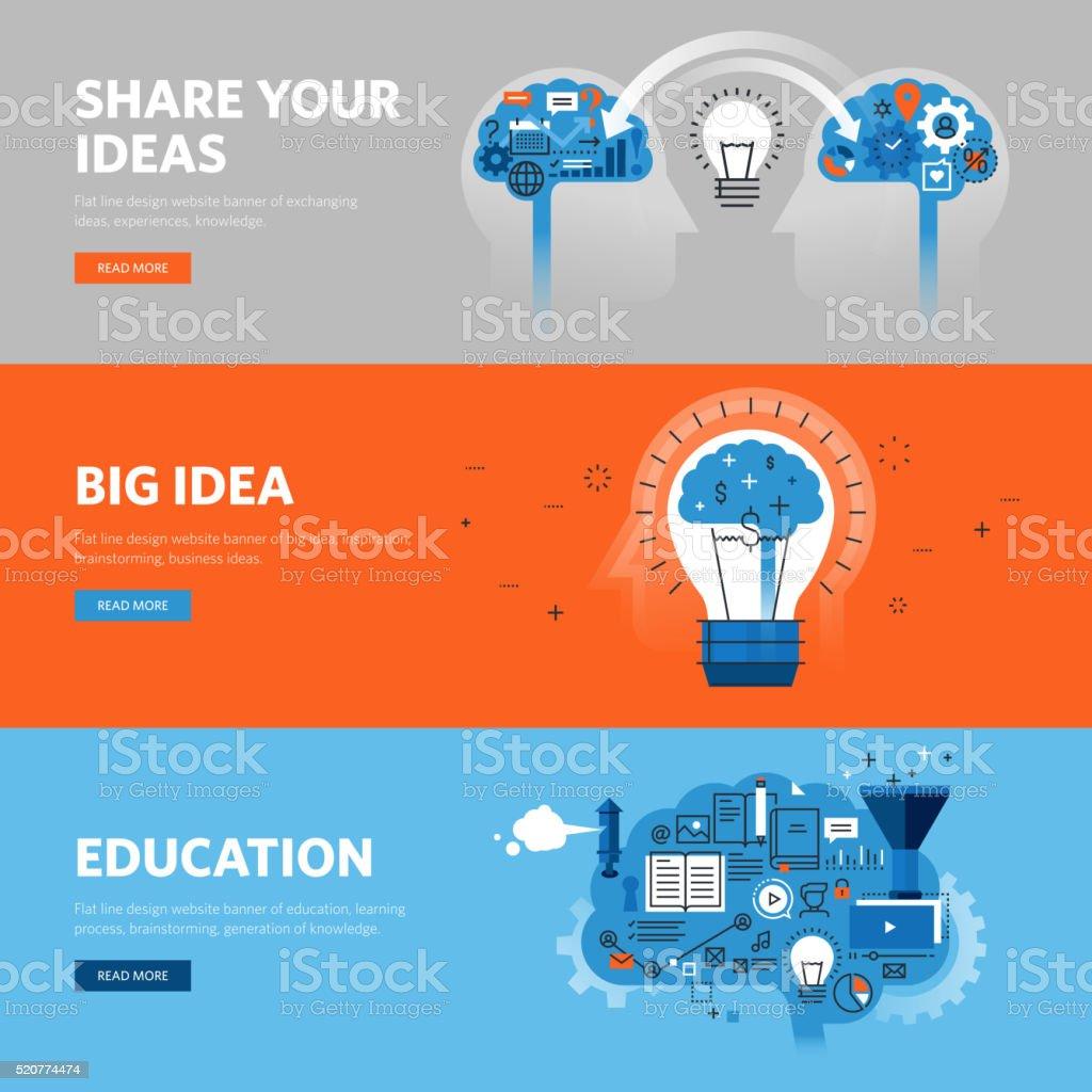 Set of flat line design web banners for brainstorming vector art illustration