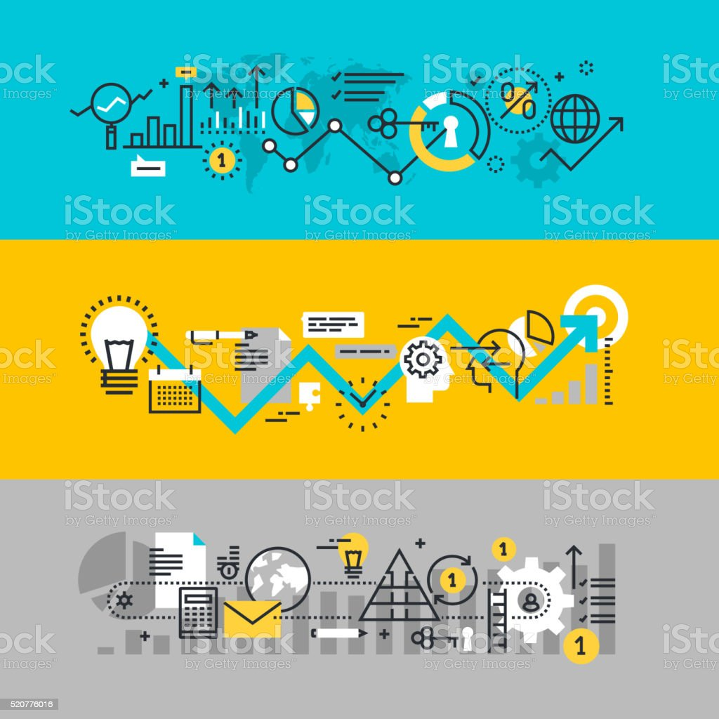 Set of flat line design web banners for business process vector art illustration