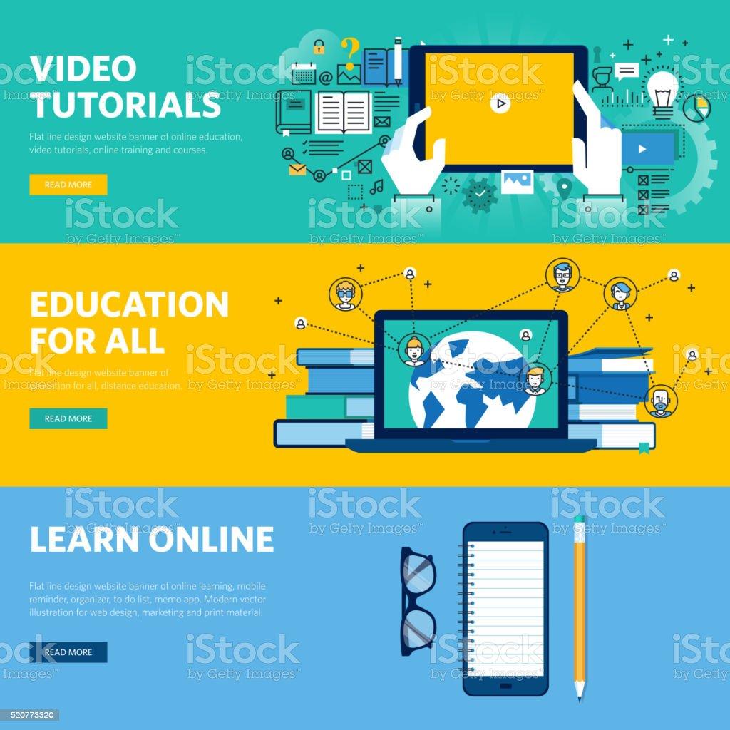 Set of flat line design web banners for distance education vector art illustration