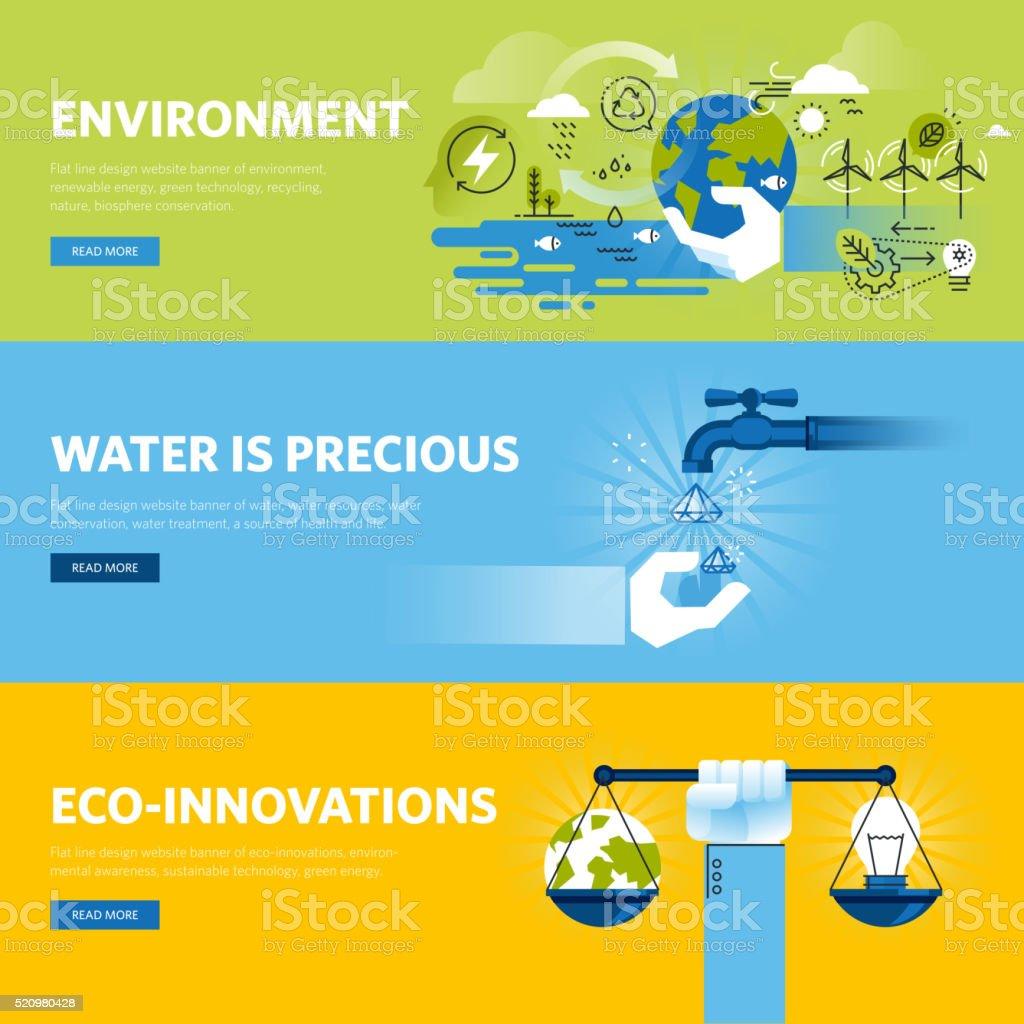 Set of flat line design web banners for environment vector art illustration