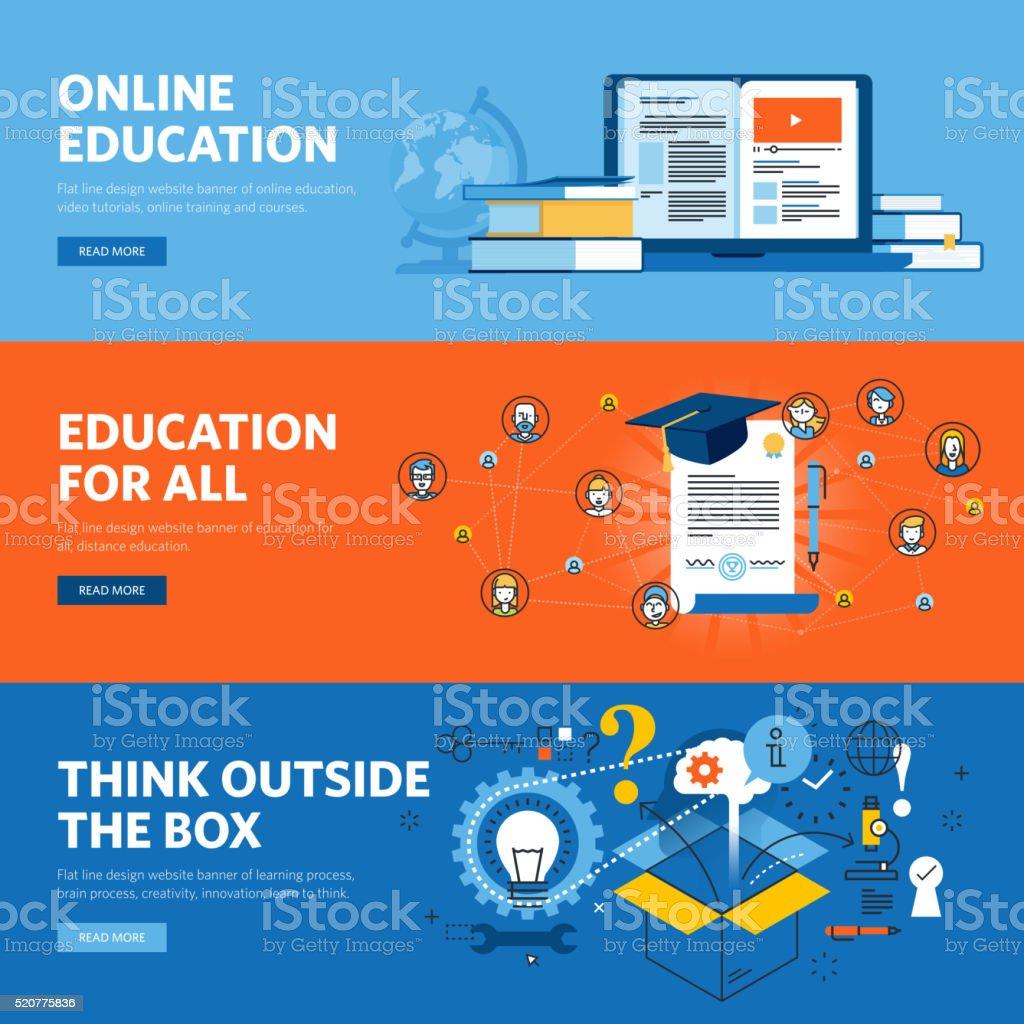 Set of flat line design web banners for online education vector art illustration