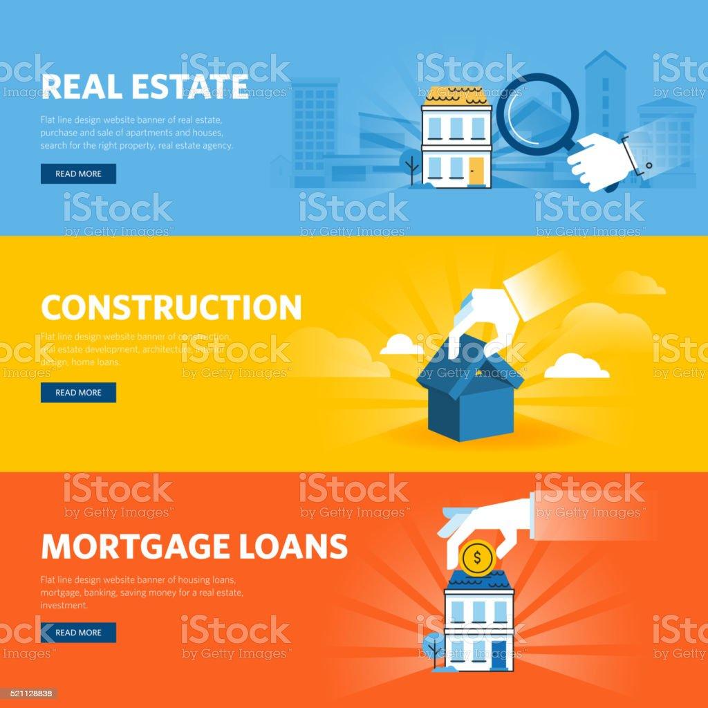 Set of flat line design web banners for real estate vector art illustration