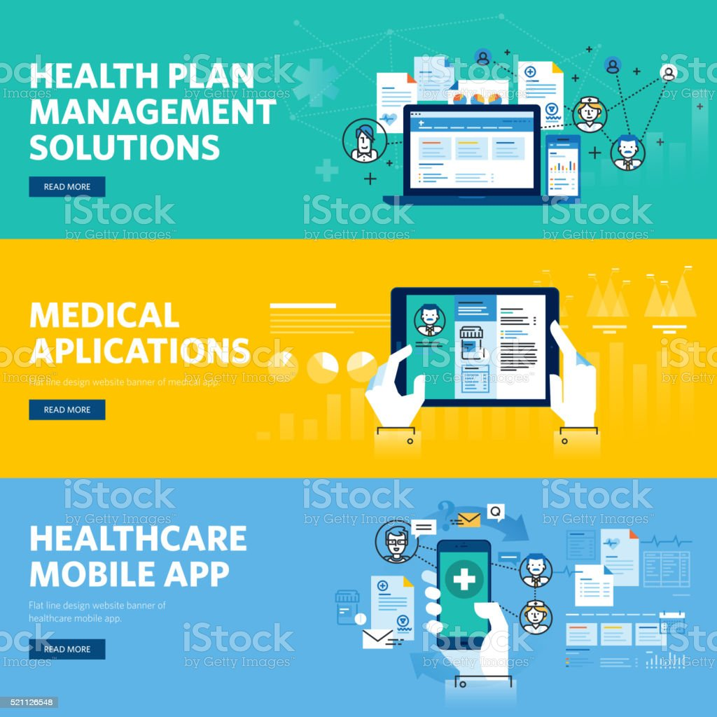 Set of flat line dweb banners for healthcare mobile app vector art illustration