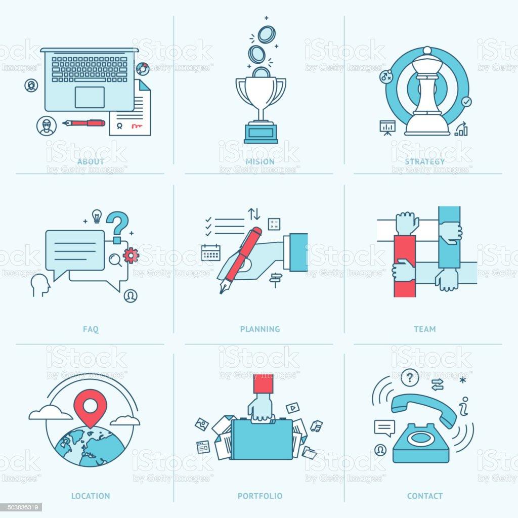 Conjunto de iconos de línea plana para los negocios illustracion libre de derechos libre de derechos