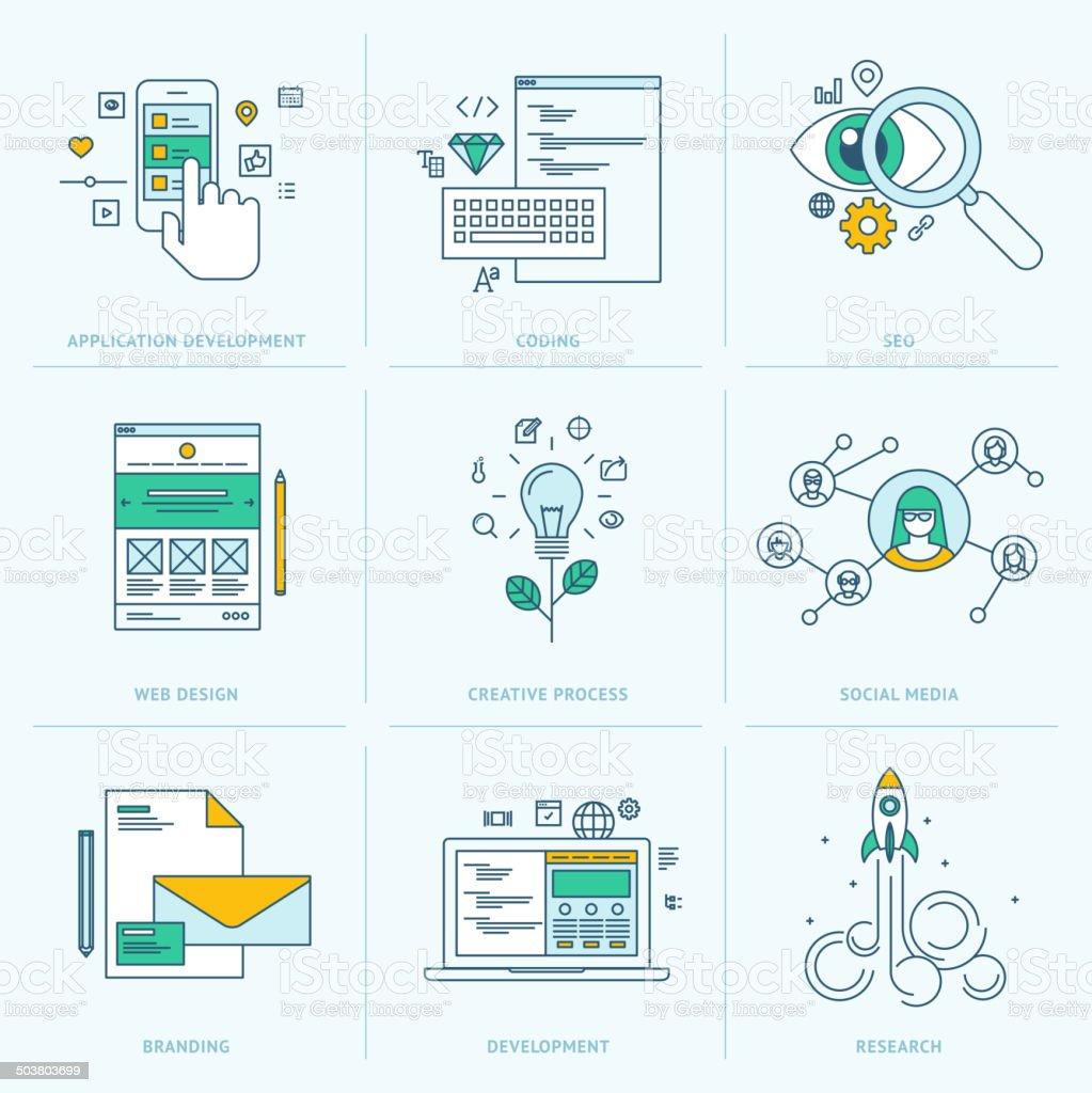 Conjunto de iconos de línea plana para Desarrollo web illustracion libre de derechos libre de derechos