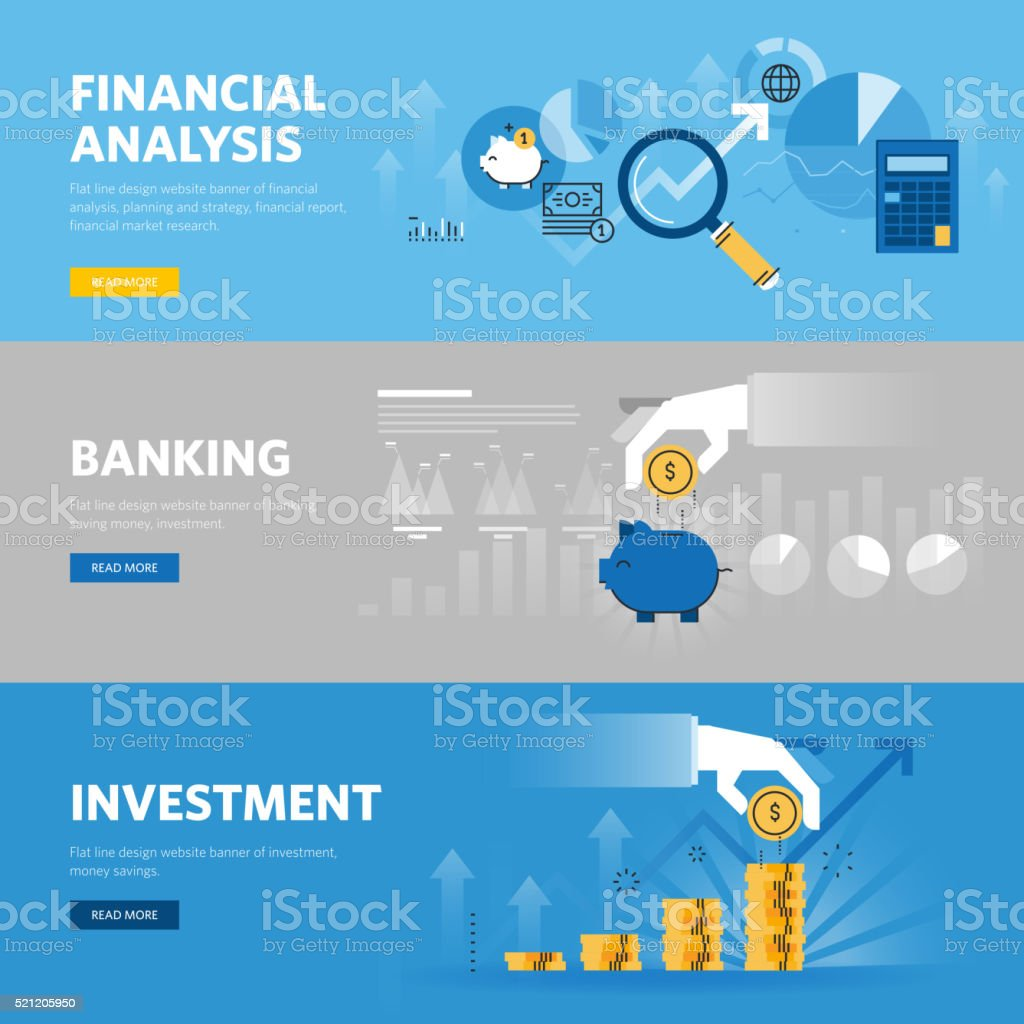 Set of flat line web banners for banking and finance vector art illustration