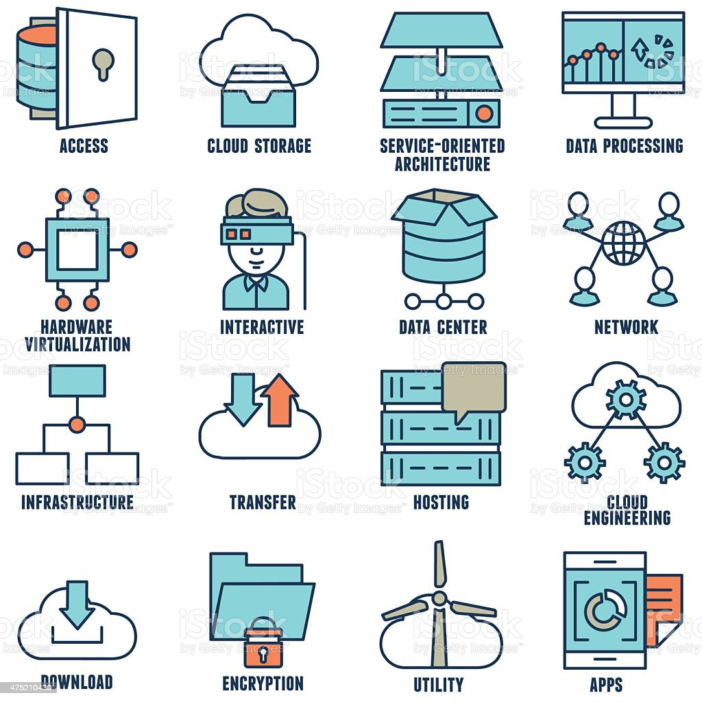 Set of flat linear cloud computing icons - part 2 vector art illustration