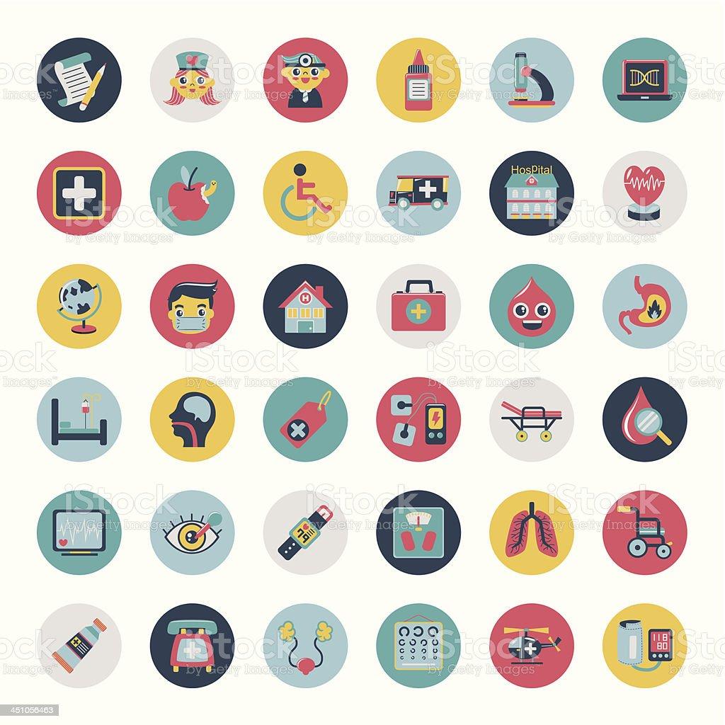 Set of flat Medical icons vector art illustration