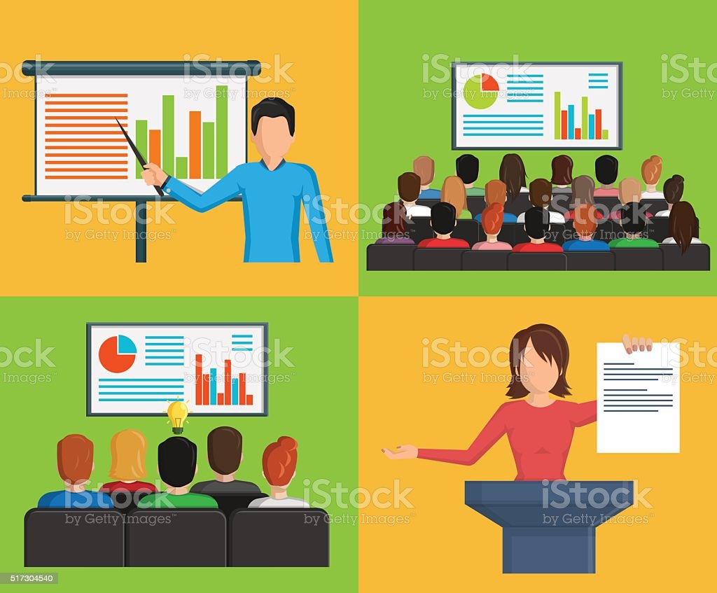 Set of flat minimalistic illustrations, conference business meeting situations vector art illustration