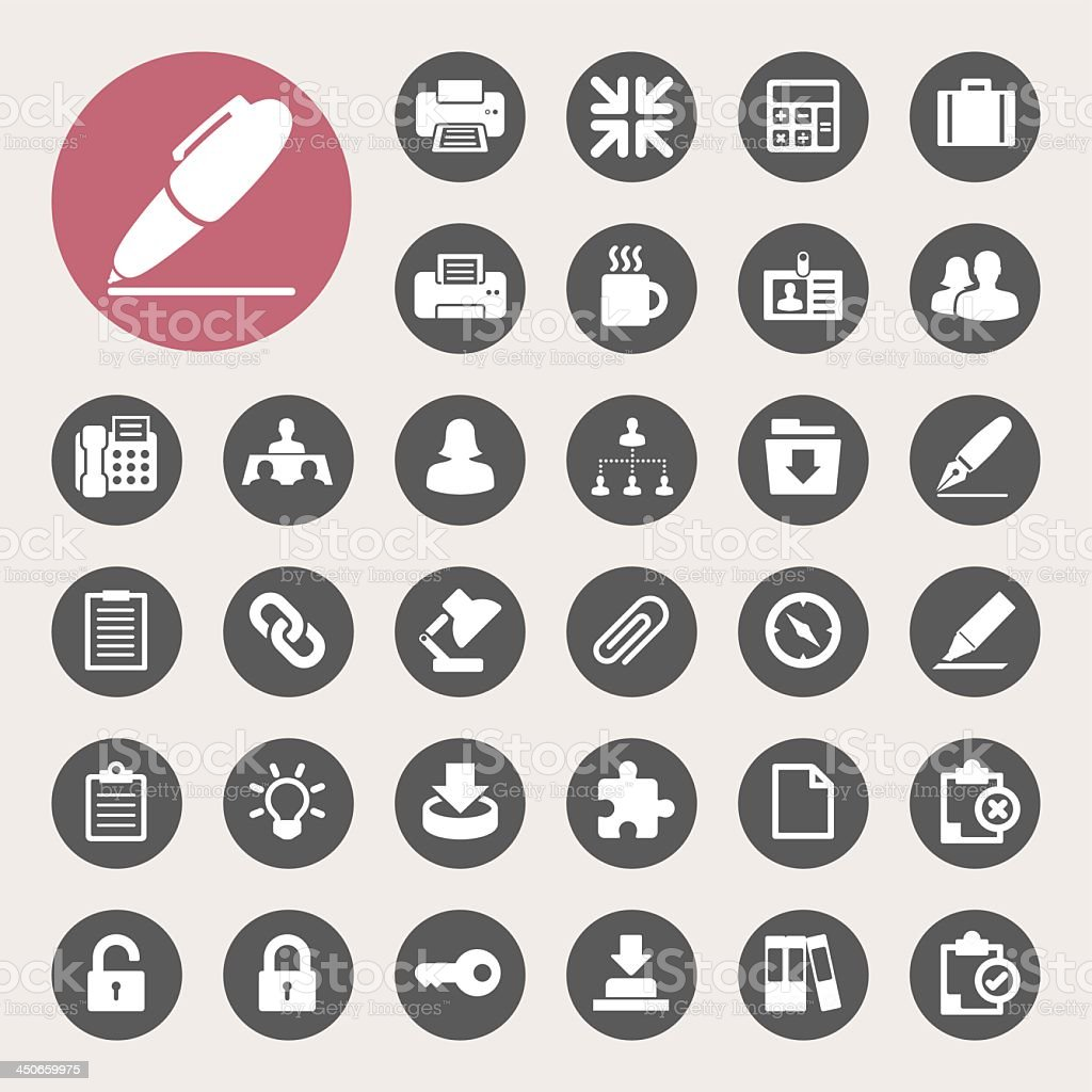Set of flat office icons in black and white vector art illustration