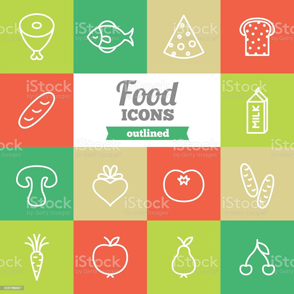Set of flat outlined food icons vector art illustration