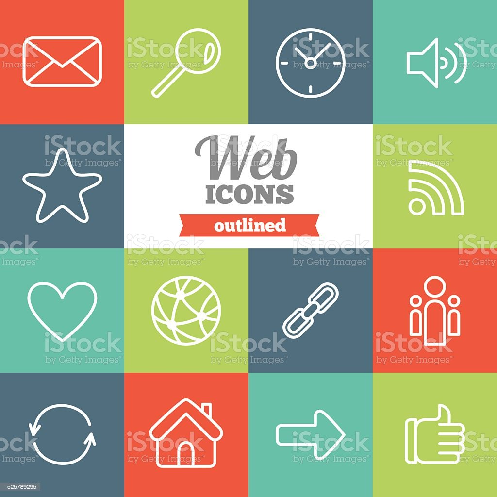 Set of flat outlined web icons vector art illustration