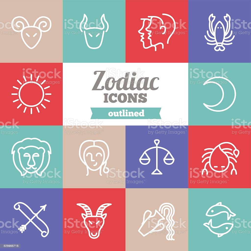 Set of flat outlined zodiac icons vector art illustration
