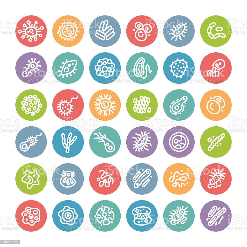 Set of Flat Round Icons with Bacteria and Germs vector art illustration