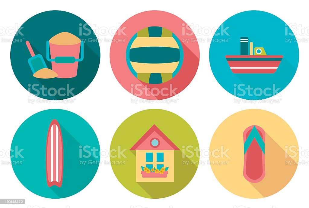 Set of flat round summer icons with shadow vector art illustration