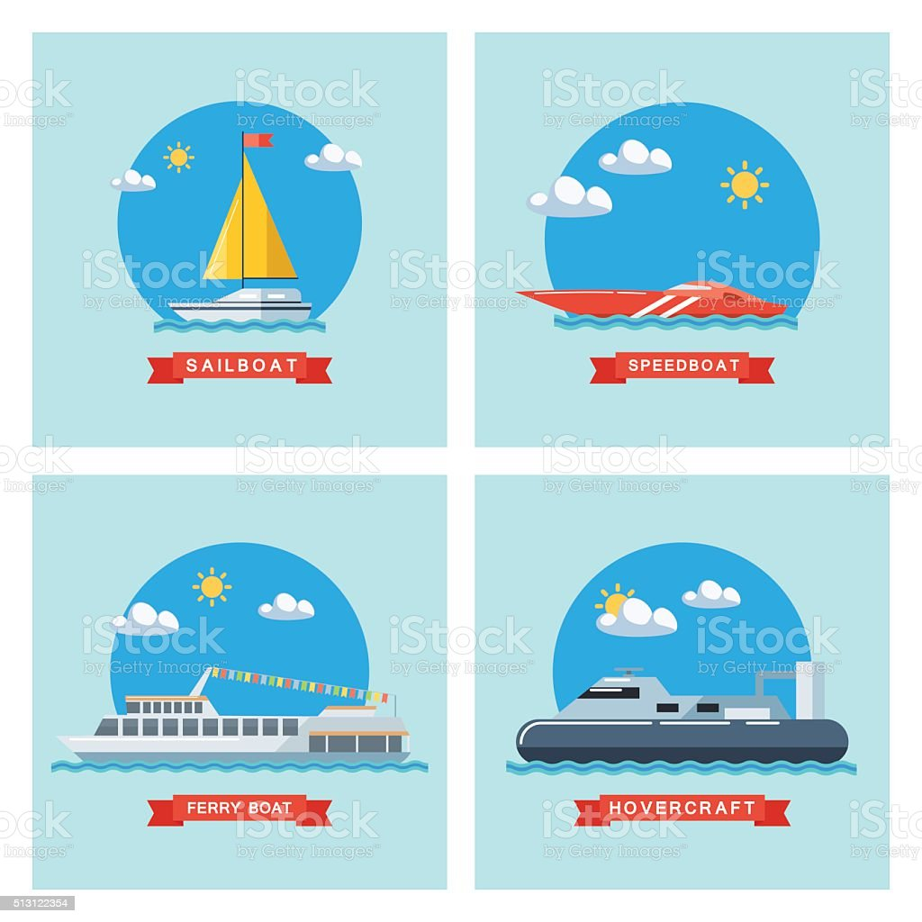 Set of flat sailboat, ferry boat, speedboat and hovercraft icons. vector art illustration