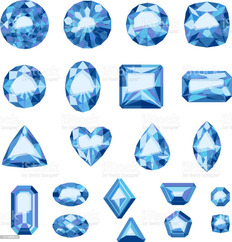 Set of flat style blue jewels. Sapphires isolated vector art illustration