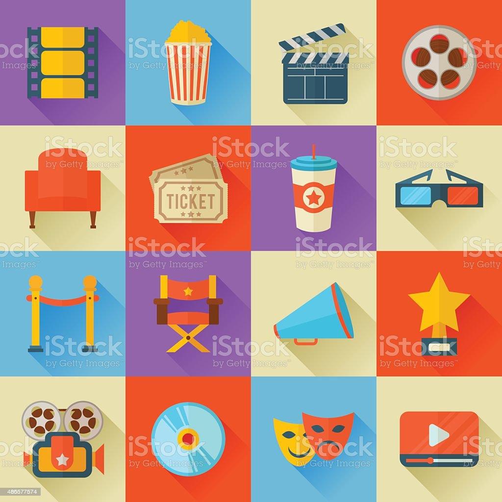 Set of flat style cinema icons vector art illustration