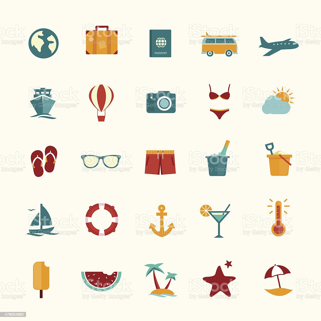Set of flat style travel icons vector art illustration