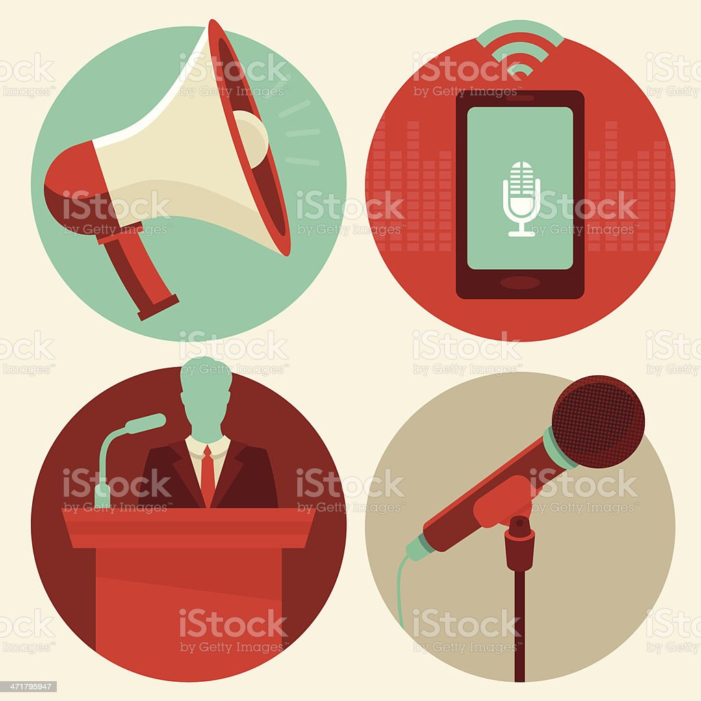 Set of flat style vector conference icons vector art illustration