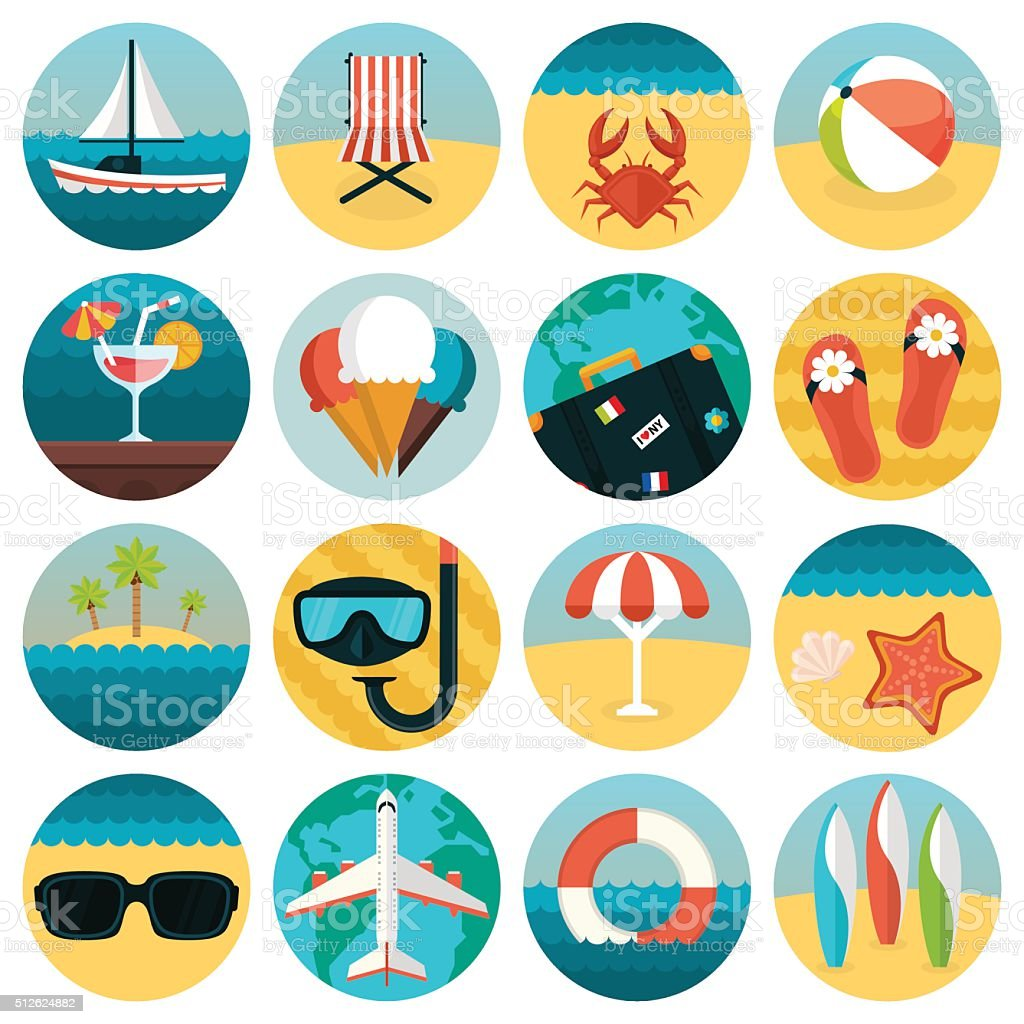 Set of flat summer rest icons combination. Traveling, tourism vector art illustration