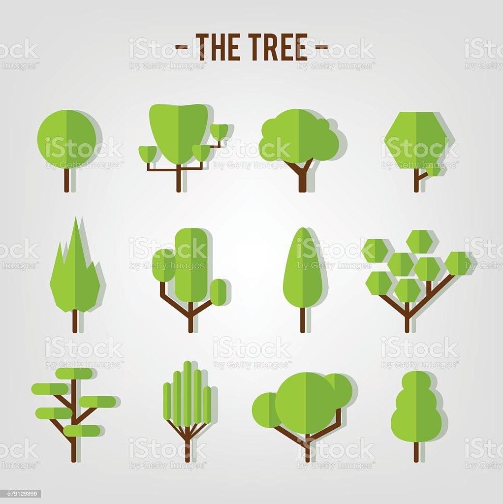 Set of flat tree vector art illustration