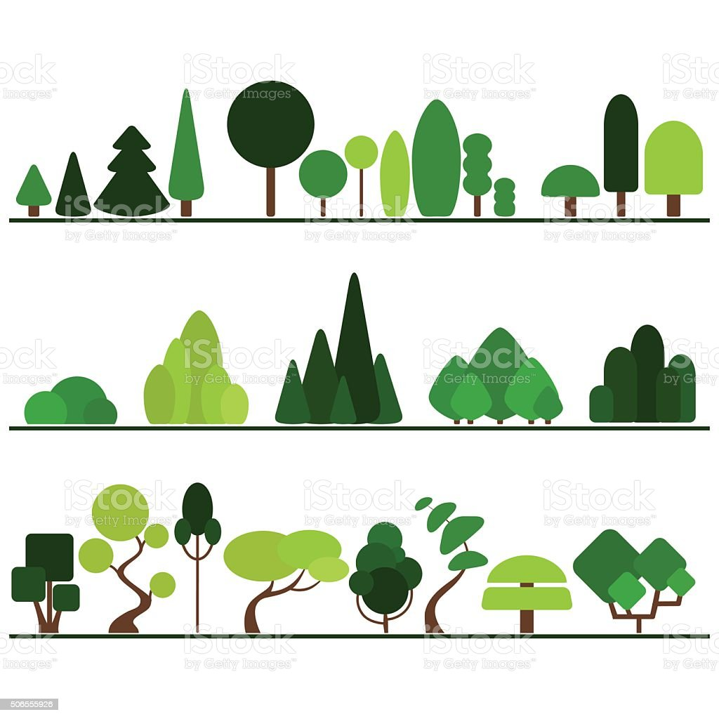 Set of flat trees including pine, bushes, fancy plants vector art illustration