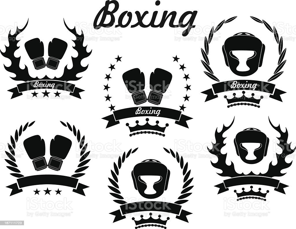 Set of flat vector boxing icons vector art illustration