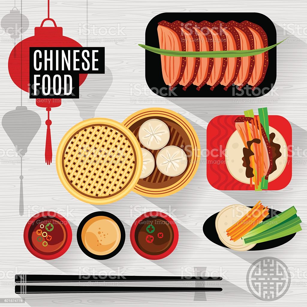 Set of flat vector elements for chinese restaurant vector art illustration