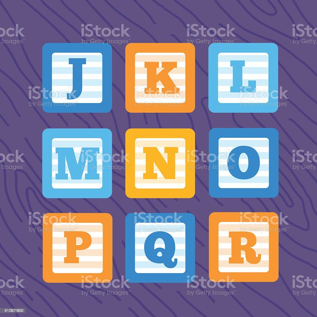 Set of flat vector minimalistic alphabet baby blocks. vector art illustration