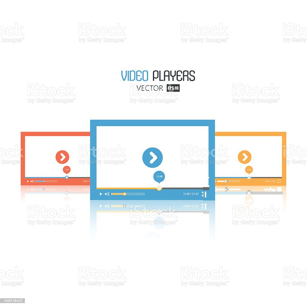 Set of flat video player for web and mobile apps vector art illustration