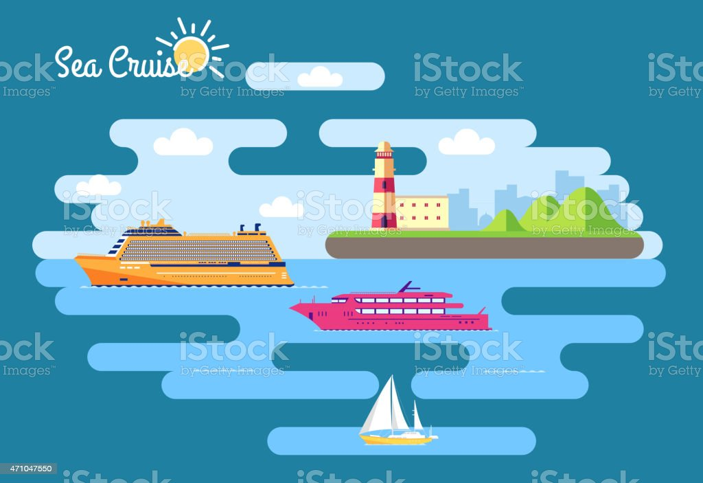 Set of flat yacht, scooter, boat, cargo ship, fishing, cruise vector art illustration