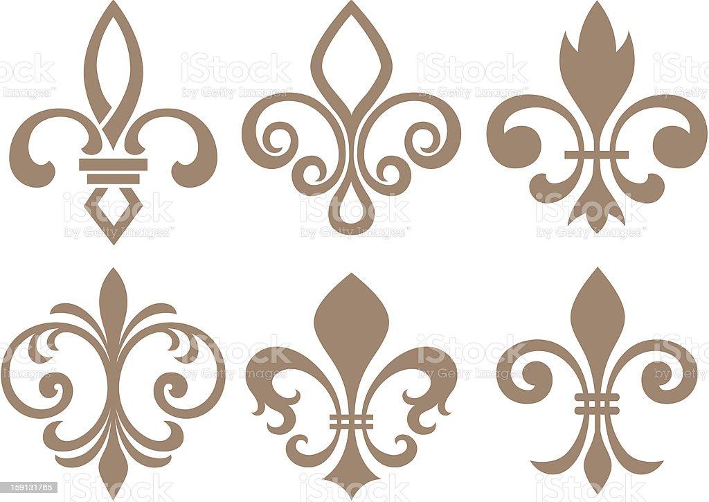 Set of fleur-de-lys symbols in beige vector art illustration
