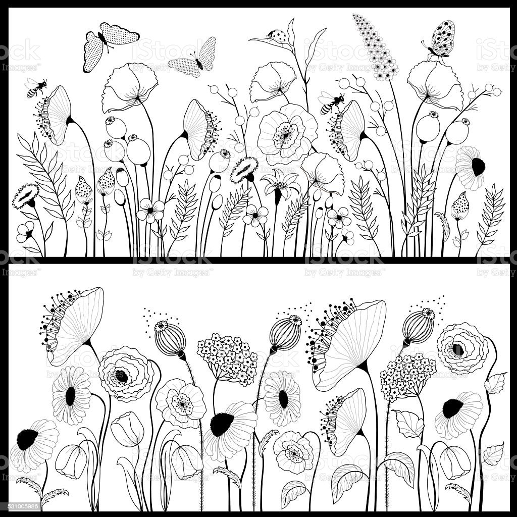 Set of floral banners in white and black vector art illustration