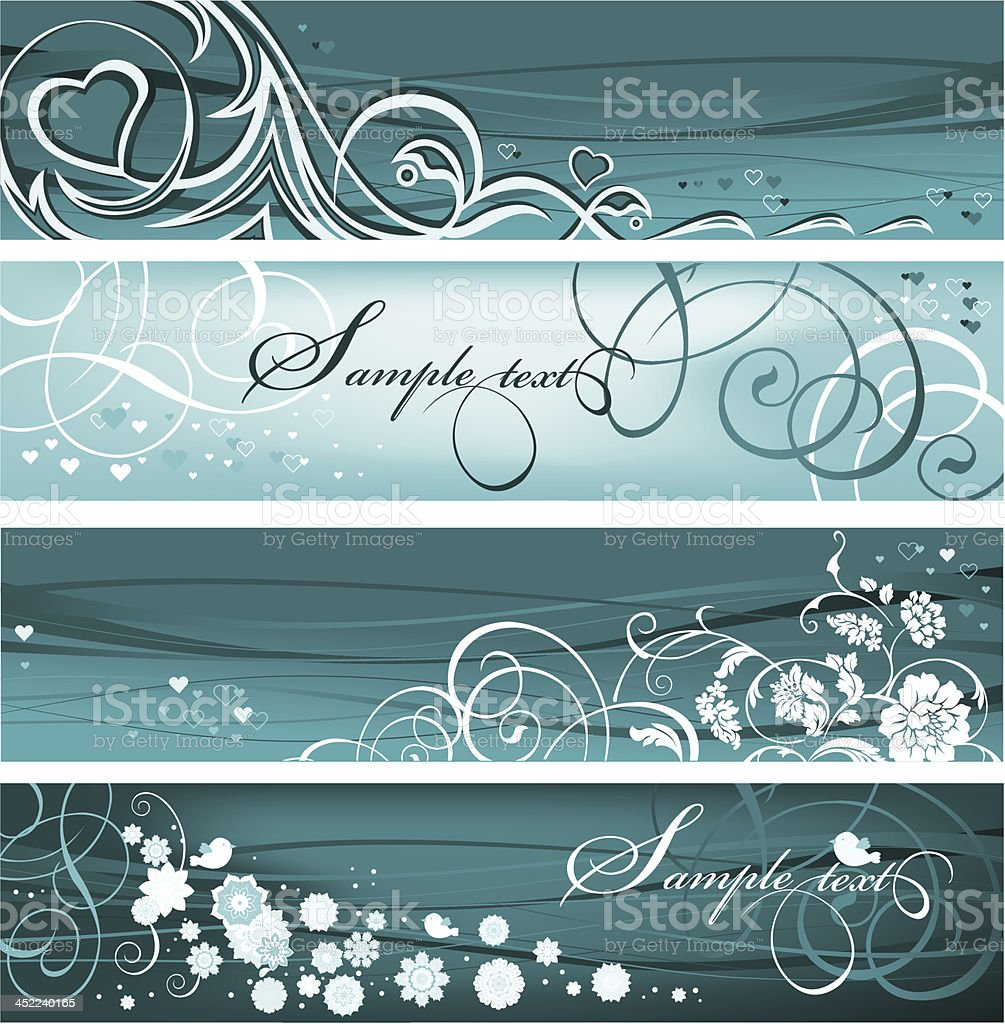 Set of Floral Banners royalty-free stock vector art