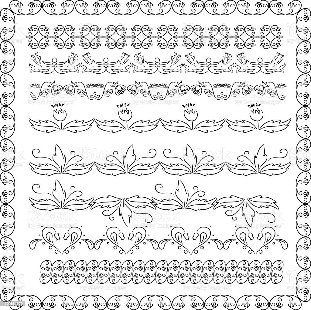set of floral borders royalty-free stock vector art
