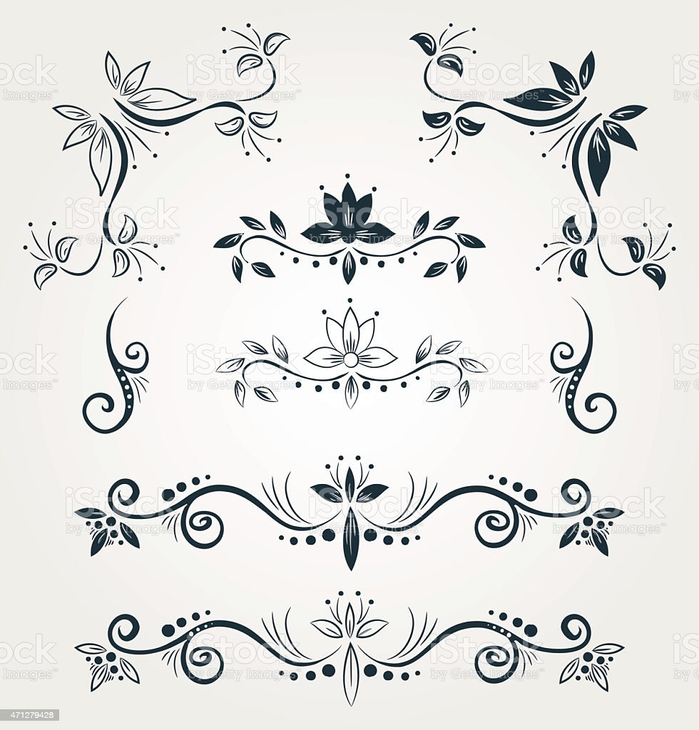 Set Of Floral Calligraphy Decorative Elements Stock Vector