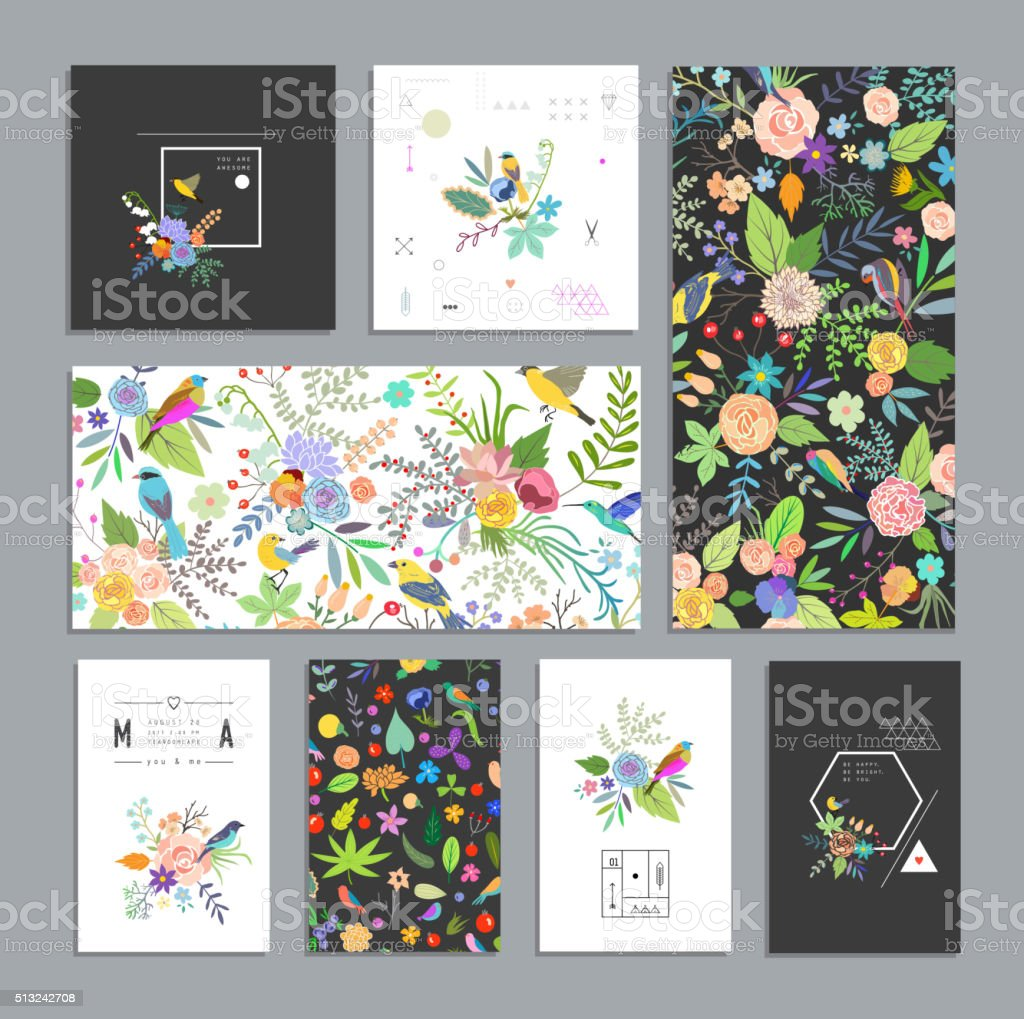 Set of floral cards. vector art illustration