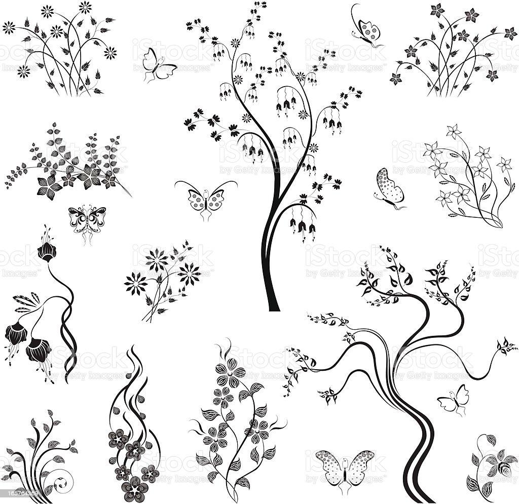 Set of Floral Design Elements royalty-free stock vector art