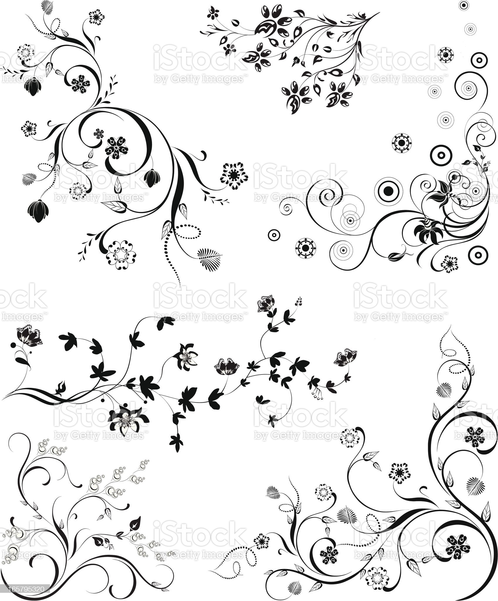 Set of Floral Design Elements royalty-free stock vector art