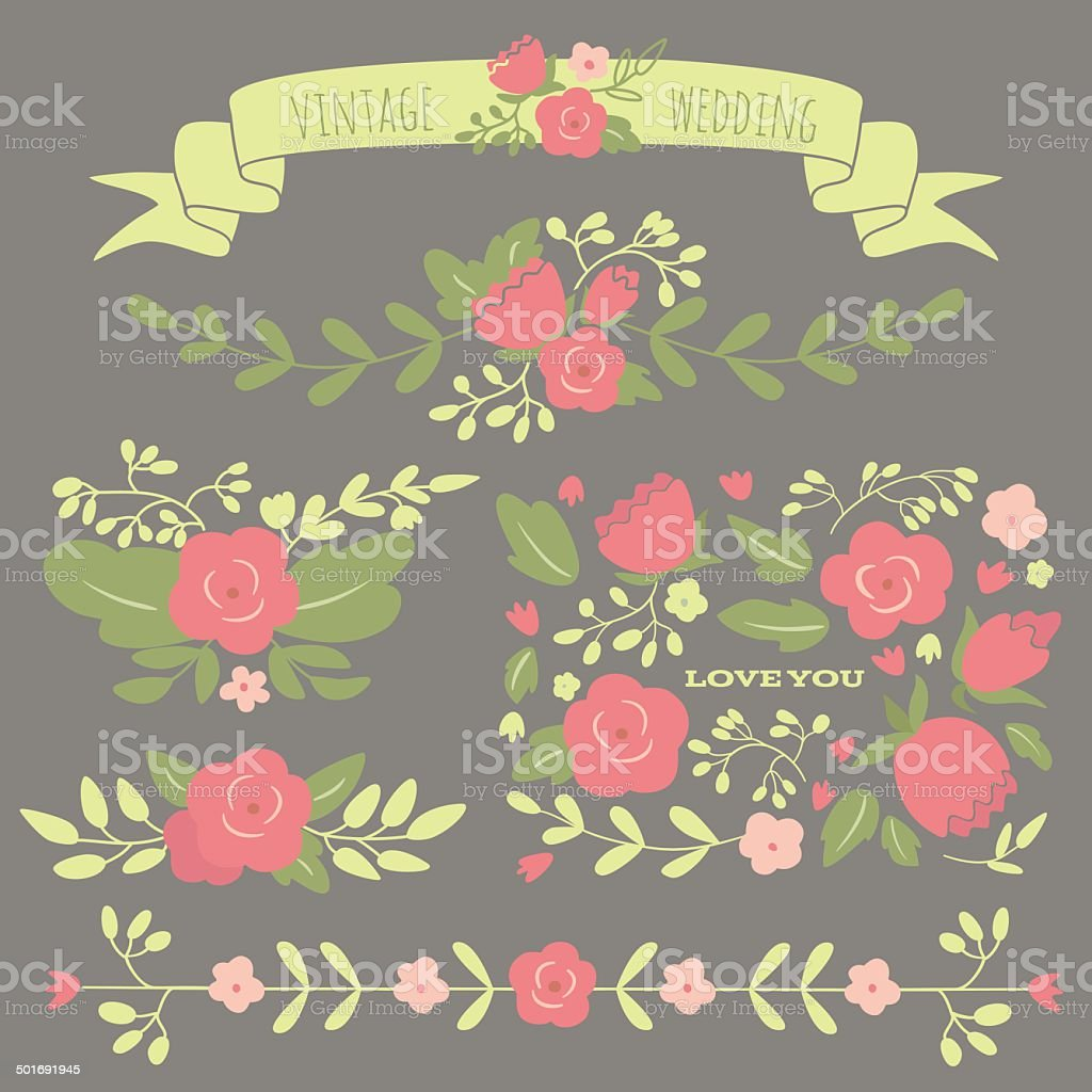 Set of floral elements for a wedding or birthday royalty-free stock vector art