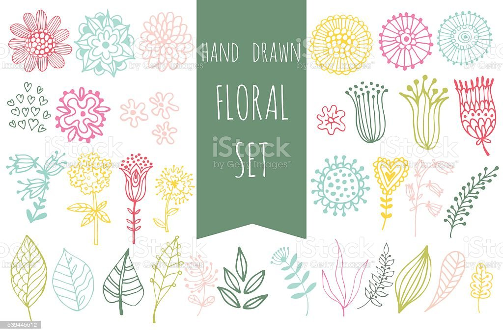set of floral elements royalty-free stock vector art
