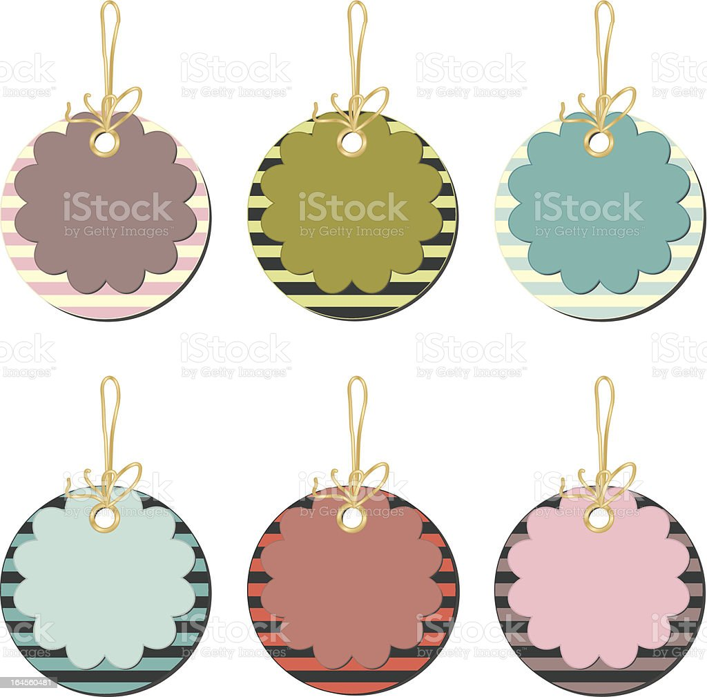 Set of floral price tags with stripes royalty-free stock vector art