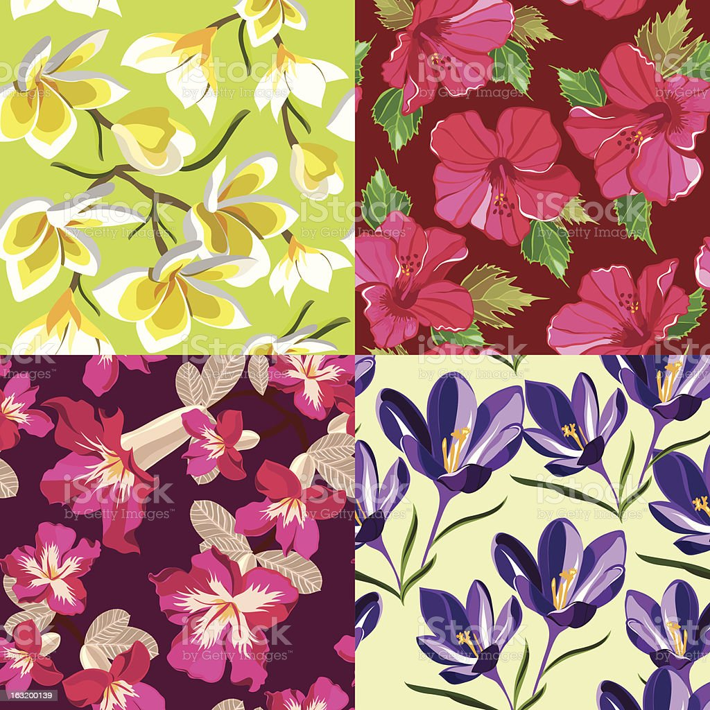 Set of floral seamless pattern royalty-free stock vector art