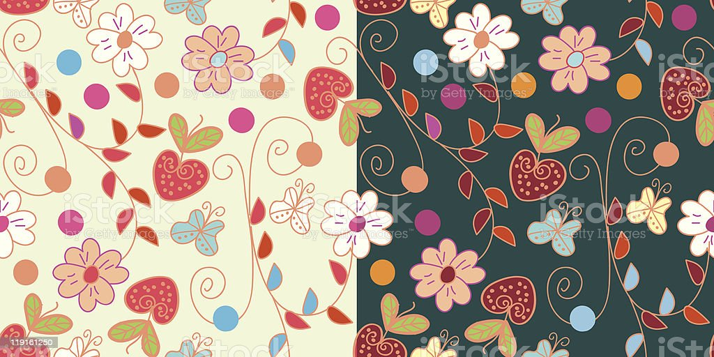 Set of floral seamless pattern with strawberry royalty-free stock vector art