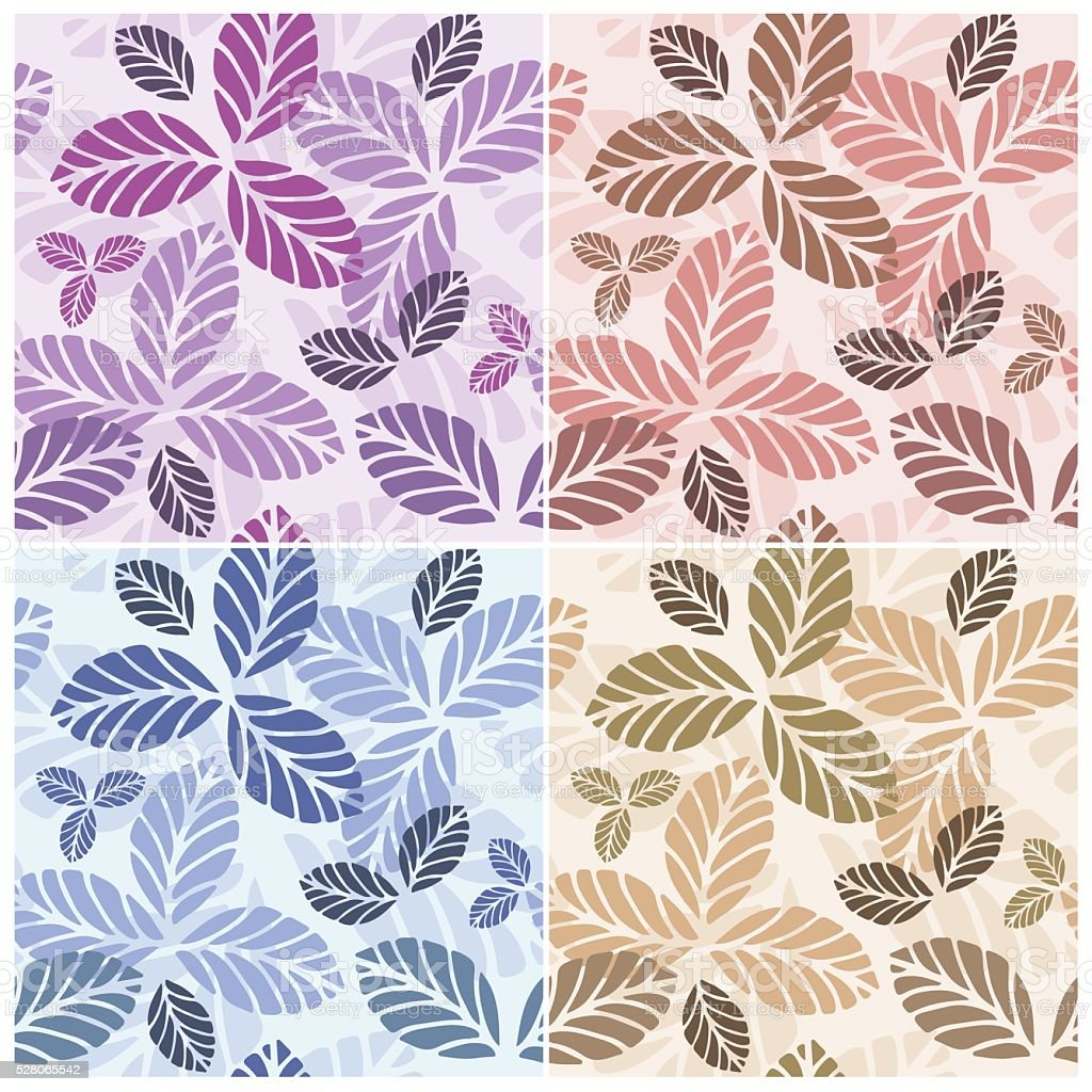 Set of floral seamless patters vector art illustration