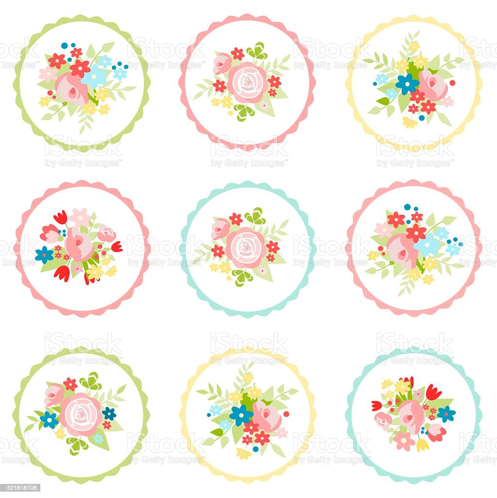 Set of floral stickers for various occasions vector art illustration